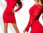 Dress guipure, red, new