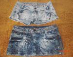Denim skirt and shorts