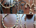 Beads of seashell, birch bark, vintage, necklace