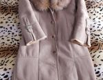 Sheepskin coat straight. 42-44 size Collar fox. Bargaining