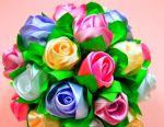 Flowers, bouquets, satin ribbon jewelry.