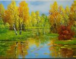 Картина Полотно Масло Тeплая осінь з подпіс'ю автора