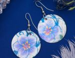 """Earrings """"Shell"""" flowers, circle, white-lilac color."""