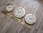 Wall clock with city signs