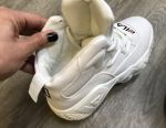 White female leather sneakers FILA with design