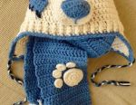 Pălărie croșetată și eșarfă pentru copilul nou-născut