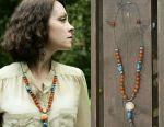 Necklace Earrings Carnelian Lapis lazuli