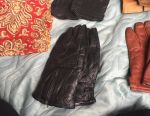 Leather and suede gloves + scarf