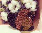 Handmade beaver brooch