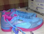 Sneakers female blue with pink.