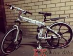 White Mercedes bicycle on black cast wheels