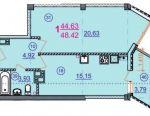 Apartament, 1 cameră, 48,4 m²