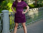 Dress bandage Herve Leger violet with a fringe