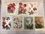 Postcards 1955 Flowers 9 pieces