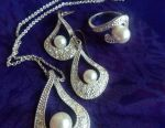 Pendant, earrings, ring