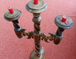 Handmade wooden carved candlestick