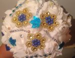 Brooch bouquet blue and gold