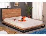 Bed made of Metal and Solid Wood Acacia 150x20