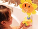 Toy sunflower in the bath