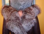 Cap fur one-piece with a tail. Winter clothes