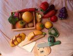 Wooden vegetables, bears