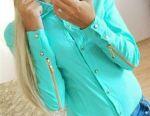 Blouse turquoise, new
