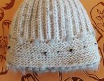 New knitted hat with blue mink
