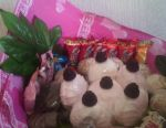 Bouquet of sweets, marshmallows, cookies