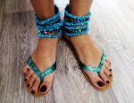 Blue sandals with stones