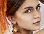 Στρογγυλά σκουλαρίκια γυναικών με χάντρες από αχάτη
