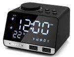 🔥 Clock Speaker bt Radio Alarm clock t˚ 2USB Mirror