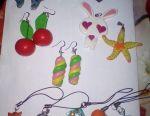 Earrings, plastic key chains