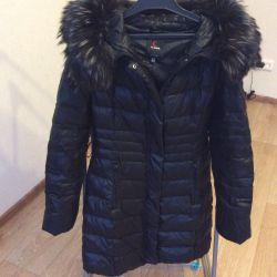 Jachetă de jos Clasna p.44 cu blană naturală de raton
