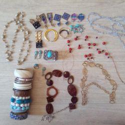 Bracelets, earrings, necklaces