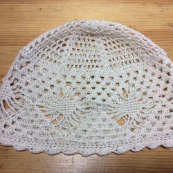 Ажурная льняная шапочка, арт 057, размер 56-57