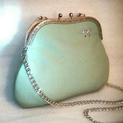 Bag leather mint (turquoise)