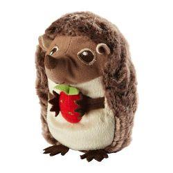 Hedgehog with strawberries. Hedgehog, strawberry squeaks. Sweden.