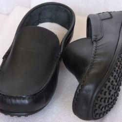 41 Goergo Black Leather Loafers