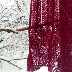 Scarf Ripe cherry. Hand knitting.
