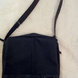 Bag leather, many compartments, black