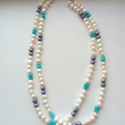 Beads necklace pearls + turquoise 46 cm