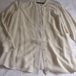 Bluza de mătase Massimo Dutti, R. S, culoare avorio