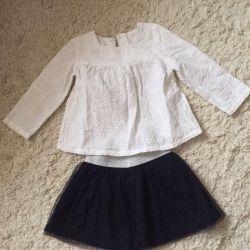 1-2 yaş kız için bluz ve etek