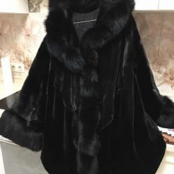 Fur coat, sheared mink, hood finish