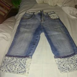 Jeans Capri on the girl of 7-9 years