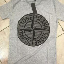 T-shirt βαμβακερό πέτρινο νησί νέο. Γκρι