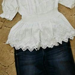 Blouse, cotton, lace