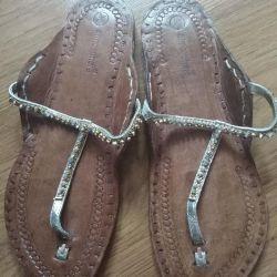 Flip-flops din piele naturală
