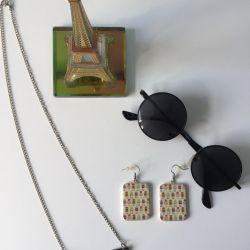 Σετ χειροποίητων γυαλιών ηλίου, σκουλαρικιών και κρεμαστών + ?