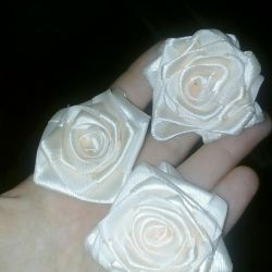 Roses made from satin ribbons made to order